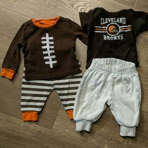 Infant Brown's outfit and pjs
